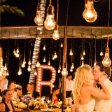 Lightbulb reception styling in Bali at Khayangan Estate Wedding