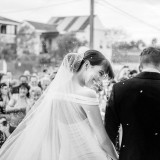 Greek Orthodox Church Brisbane Wedding Rice shower exiting Churc