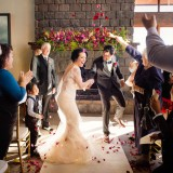 Spicers Peak Lodge Wedding Ceremony fireplace married I do